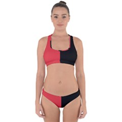 Red And Black Cross Back Hipster Bikini Set