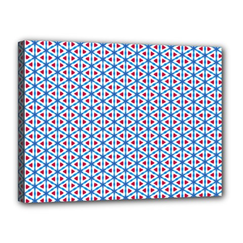 Vibrant Red And Blue Triangle Grid Canvas 16  X 12