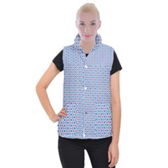 Vibrant Red And Blue Triangle Grid Women s Button Up Vest