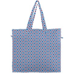 Vibrant Red And Blue Triangle Grid Canvas Travel Bag by jumpercat