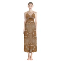 Fractal Pattern Decoration Abstract Button Up Chiffon Maxi Dress