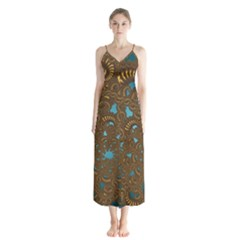 Fractal Abstract Pattern Button Up Chiffon Maxi Dress
