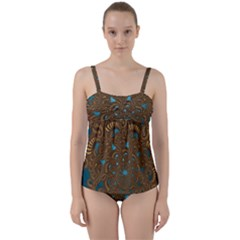 Fractal Abstract Pattern Twist Front Tankini Set by Sapixe