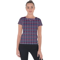 Elegant Dark Stripes Short Sleeve Sports Top