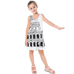 Line Art Architecture Kids  Sleeveless Dress by Sapixe