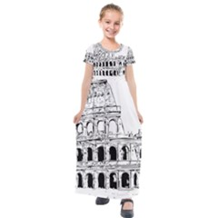 Line Art Architecture Kids  Short Sleeve Maxi Dress by Sapixe