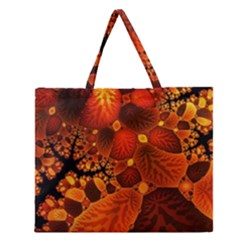 Leaf Autumn Nature Background Zipper Large Tote Bag by Sapixe