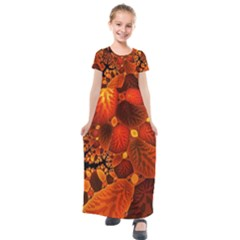 Leaf Autumn Nature Background Kids  Short Sleeve Maxi Dress by Sapixe
