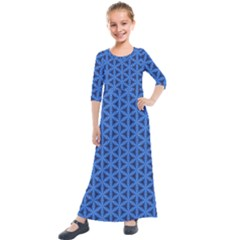 Blue Snake Scales Pattern Kids  Quarter Sleeve Maxi Dress by jumpercat