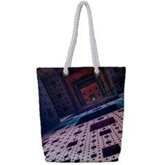 Industry Fractals Geometry Graphic Full Print Rope Handle Tote (small) by Sapixe