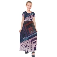 Industry Fractals Geometry Graphic Kids  Short Sleeve Maxi Dress by Sapixe