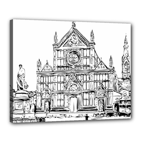 Line Art Architecture Church Italy Canvas 20  X 16  by Sapixe