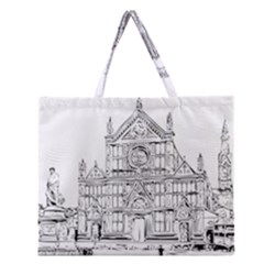 Line Art Architecture Church Italy Zipper Large Tote Bag