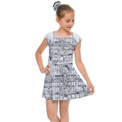 Line Art Architecture Church Italy Kids Cap Sleeve Dress