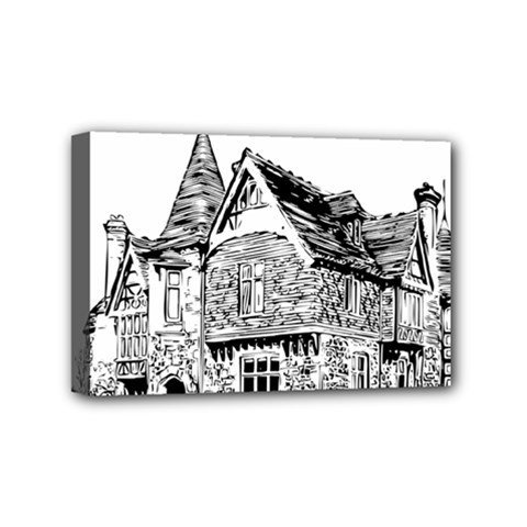 Line Art Architecture Old House Mini Canvas 6  X 4  by Sapixe