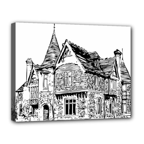 Line Art Architecture Old House Canvas 14  X 11