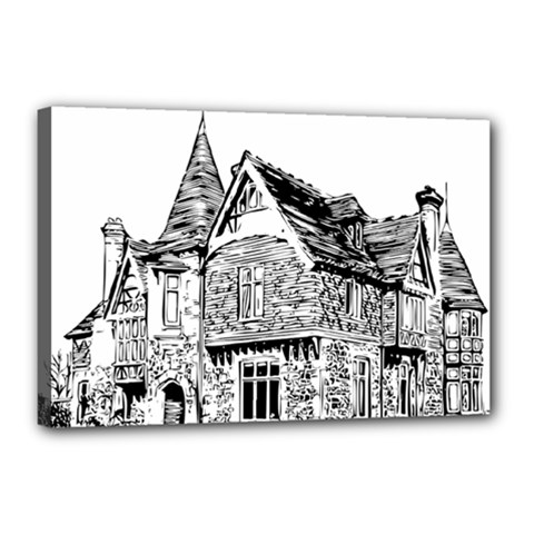 Line Art Architecture Old House Canvas 18  X 12  by Sapixe