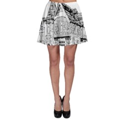 Line Art Architecture Old House Skater Skirt by Sapixe