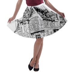 Line Art Architecture Old House A Line Skater Skirt