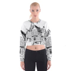 Line Art Architecture Old House Cropped Sweatshirt by Sapixe