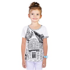 Line Art Architecture Old House Kids  One Piece Tee by Sapixe