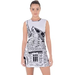 Line Art Architecture Old House Lace Up Front Bodycon Dress