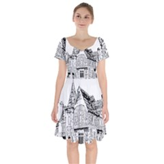 Line Art Architecture Old House Short Sleeve Bardot Dress by Sapixe
