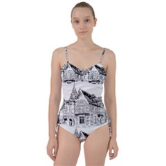 Line Art Architecture Old House Sweetheart Tankini Set by Sapixe