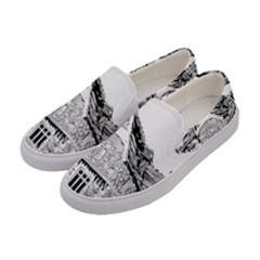 Line Art Architecture Old House Women s Canvas Slip Ons by Sapixe