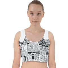 Line Art Architecture Old House Velvet Racer Back Crop Top