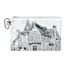 Line Art Architecture Old House Canvas Cosmetic Bag (large)