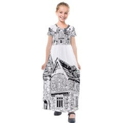 Line Art Architecture Old House Kids  Short Sleeve Maxi Dress