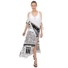 Line Art Architecture Old House Maxi Chiffon Cover Up Dress
