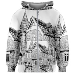 Line Art Architecture Old House Kids Zipper Hoodie Without Drawstring by Sapixe