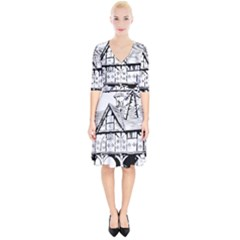 Line Art Architecture Vintage Old Wrap Up Cocktail Dress