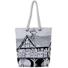 Line Art Architecture Vintage Old Full Print Rope Handle Tote (small)