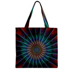 Fractal Peacock Rendering Zipper Grocery Tote Bag