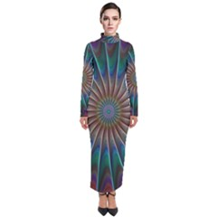 Fractal Peacock Rendering Turtleneck Maxi Dress