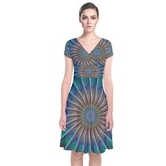 Fractal Peacock Rendering Short Sleeve Front Wrap Dress