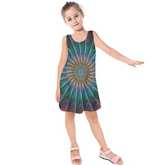 Fractal Peacock Rendering Kids  Sleeveless Dress