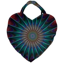 Fractal Peacock Rendering Giant Heart Shaped Tote by Sapixe