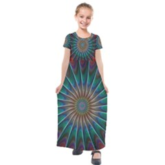 Fractal Peacock Rendering Kids  Short Sleeve Maxi Dress by Sapixe