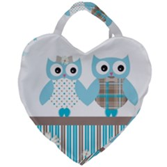 Owl Animal Daisy Flower Stripes Giant Heart Shaped Tote