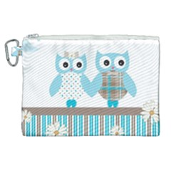 Owl Animal Daisy Flower Stripes Canvas Cosmetic Bag (xl) by Sapixe