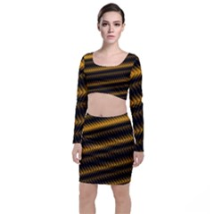Ornament Stucco Close Pattern Art Long Sleeve Crop Top & Bodycon Skirt Set by Sapixe