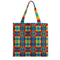 Pop Art Abstract Design Pattern Zipper Grocery Tote Bag by Sapixe