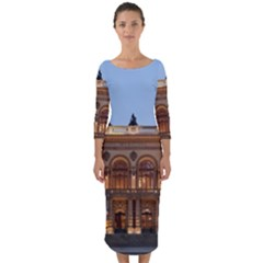 Municipal Theatre Of Sao Paulo Brazil Quarter Sleeve Midi Bodycon Dress by Sapixe
