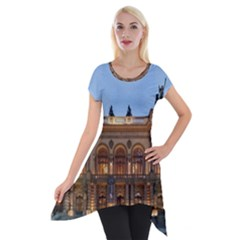 Municipal Theatre Of Sao Paulo Brazil Short Sleeve Side Drop Tunic by Sapixe