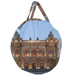 Municipal Theatre Of Sao Paulo Brazil Giant Round Zipper Tote by Sapixe