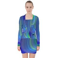 Space Design Abstract Sky Storm V Neck Bodycon Long Sleeve Dress